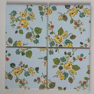 4 Ceramic Coasters in Cath Kidston Woodland Rose in Blue